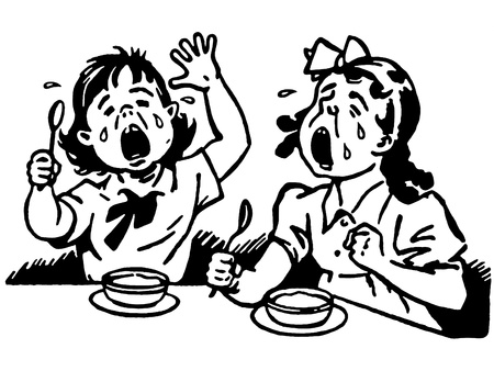 hungry kid: A black and white version of two young girls at a dinner table both crying in anger