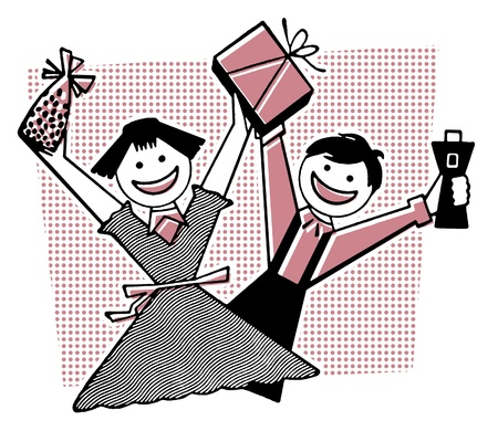 overjoyed:  Two children overjoyed with their gifts