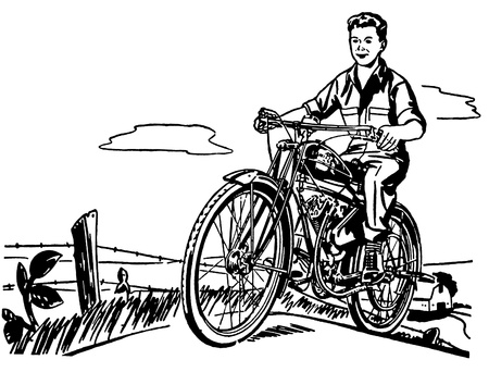A black and white version of a young boy and his motorbike photo