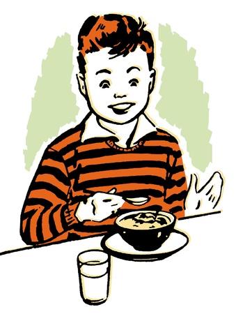 A young boy enjoying his dinner