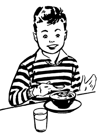 A black and white version of a young boy enjoying his dinner