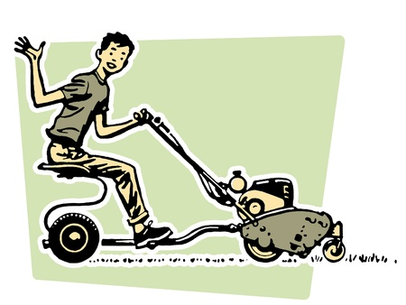 A young boy waving happily from a ride on mower