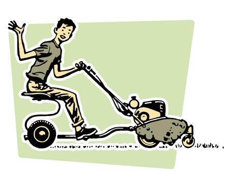 domestic chore: Un joven agitando alegremente de un Veh�culo a motor Foto de archivo