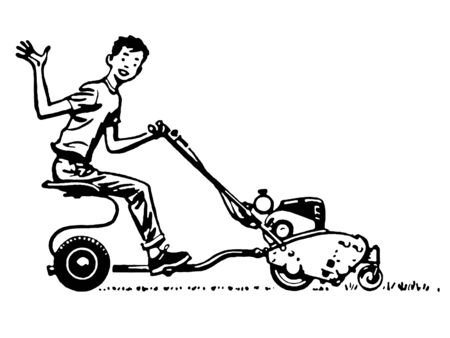 mowing the lawn: A black and white version of a young boy waving happily from a ride on mower