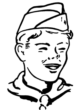 delighted: Portrait of a boy scout Stock Photo