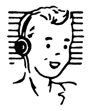 Portrait of boy wearing headphones and smiling photo