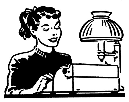 joyfulness: A black and white version of a young woman working on a typewriter