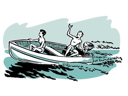 teenagers having fun: Two young boys enjoying a boat ride