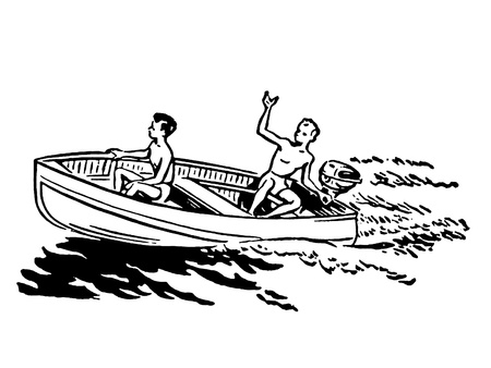 teenagers having fun: A black and white version of two young boys enjoying a boat ride