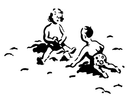 A black and white version of two small children playing in the sand photo