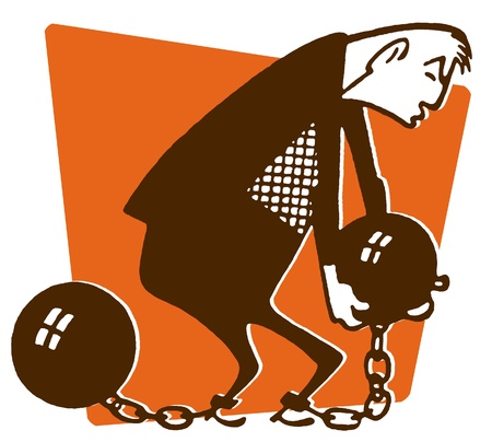 An illustration of a man carrying a ball and chain illustration