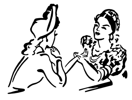 A black and white version of two women in old fashioned attire conversing photo