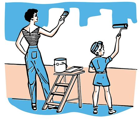 A mother and child painting walls together photo