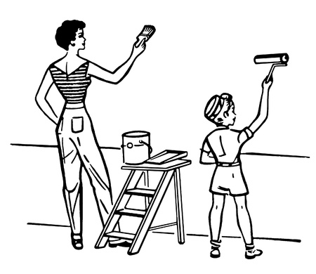 stepladder: A black and white version of a mother and child painting walls together