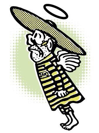 A flying man in a sombrero Stock fotó