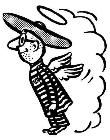 A black and white version of a flying man in a sombrero photo