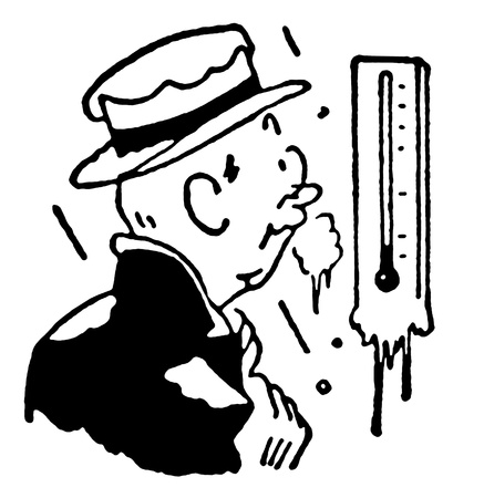 A black and white version of a man freezing whilst checking a thermostat