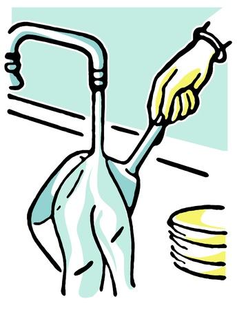 wash: Washing pots and pans