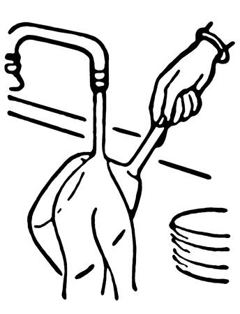 Een zwart-wit versie van het wassen van potten en pannen