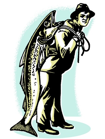 A man carrying a fish almost as big as he is Stock Photo - 14918322