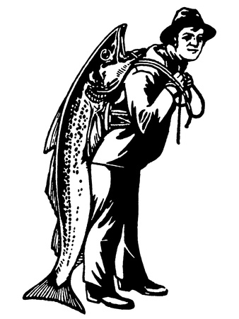 A black and white version of a man carrying a fish almost as big as he is photo