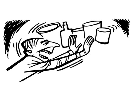 untidy: A black and white version of a man stuffing a cupboard with junk