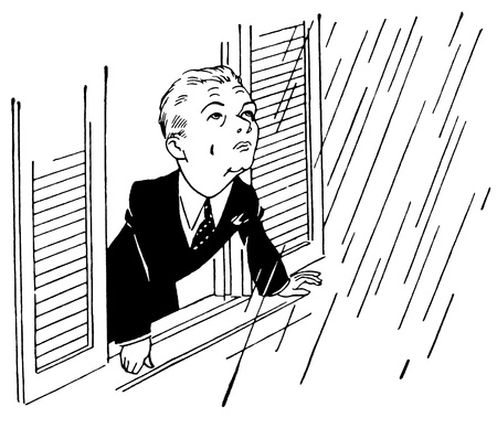 A black and white version of a young boy staring at the falling rain