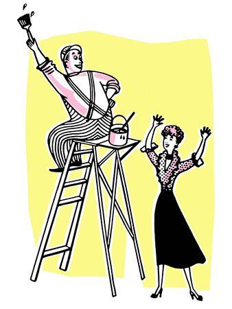 house painter: A man working up a ladder