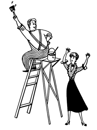 A black and white version of a man working up a ladder photo