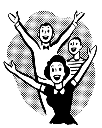 A black and white version of a group of excited young people Banque d'images