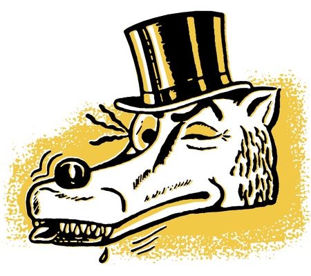 con man: A winking wolf wearing a top hat Stock Photo