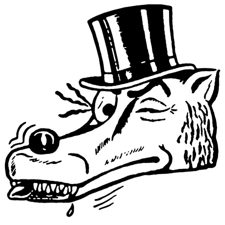 A black and white version of a winking wolf wearing a top hat Stock fotó