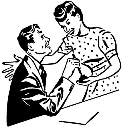homeoffice: A black and white version of a man and a woman sharing a moment