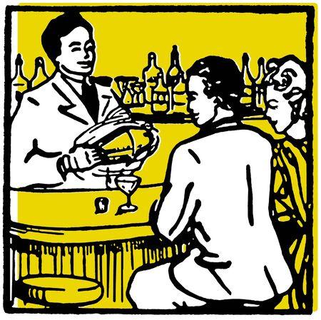 Une illustration graphique d'un couple dans un bar en sirotant une boisson Banque d'images - 14918388