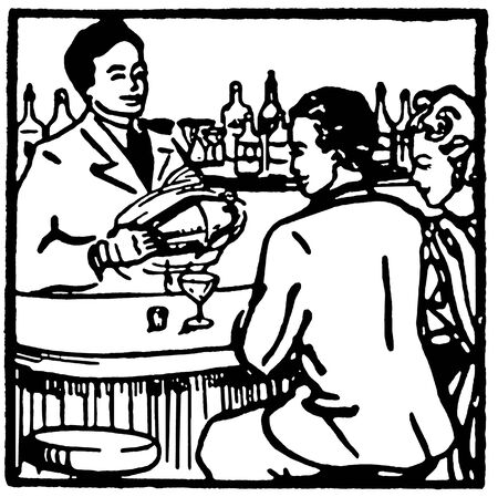 A black and white version of a graphic illustration of couple at a bar enjoying a drink illustration