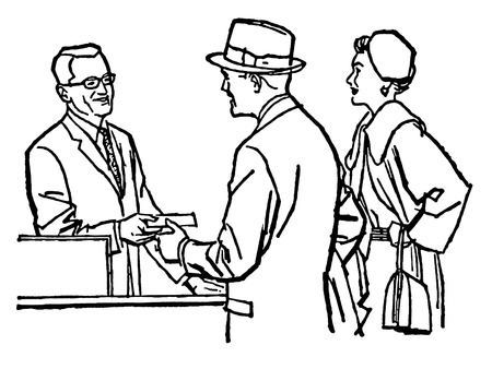 A black and white version of a vintage illustration of a couple talking with a pharmacist