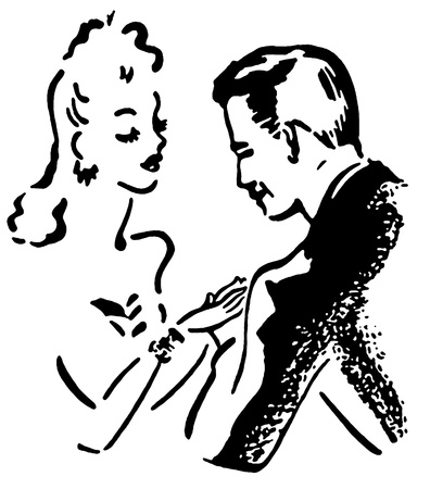 good looking man: A black and white version of a vintage illustration of a man and woman flirting