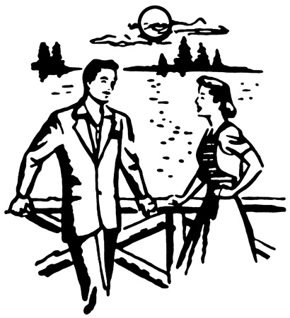 slicked back hair: A black and white version of an illustration of a man and woman on a date