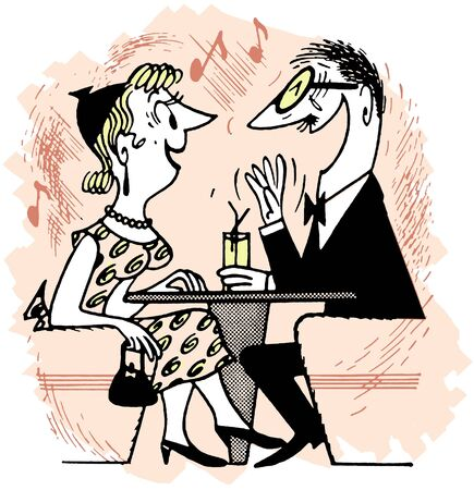 A cartoon style drawing of an excited couple