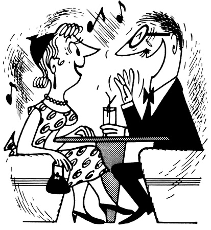 A black and white version of a cartoon style drawing of an excited couple Stock Photo - 14918466