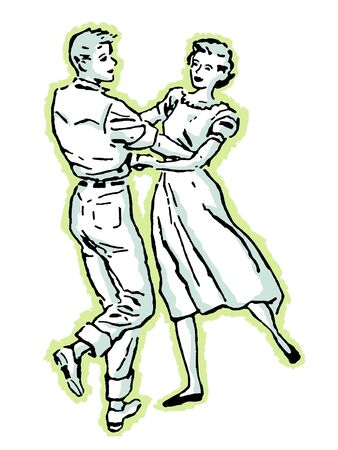 An illustration of a couple dancing illustration