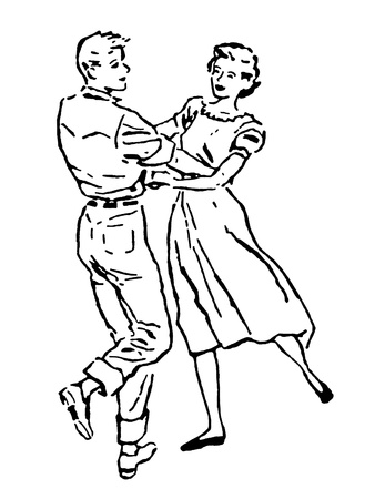 A black and white version of an illustration of a couple dancing illustration