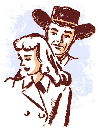 An illustration of a cowboy and a sad looking woman illustration