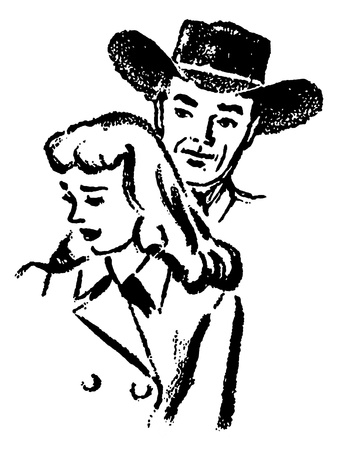 good looking man: A black and white version of an illustration of a cowboy and a sad looking woman Stock Photo