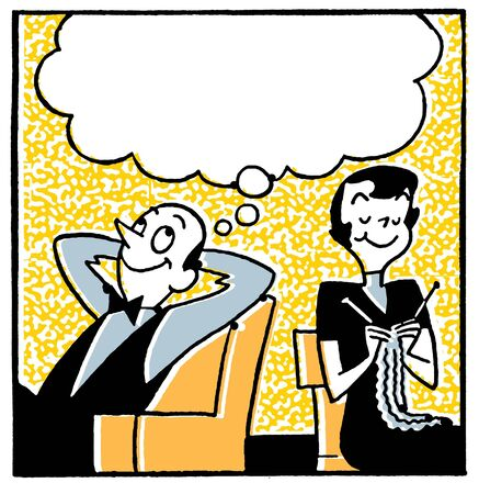 spouses: A cartoon style image of a couple with a large speech bubble above