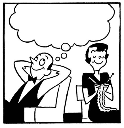 A black and white version of a cartoon style image of a couple with a large speech bubble above photo