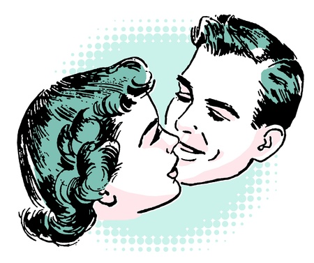 back to back couple: A vintage illustration of a couple embracing