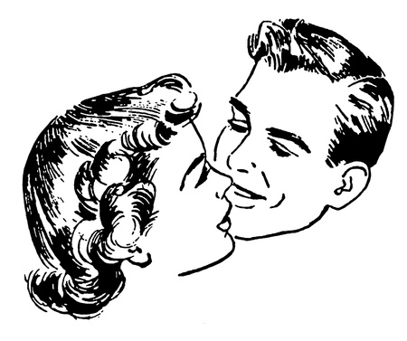good looking man: A black and white version of a vintage illustration of a couple embracing
