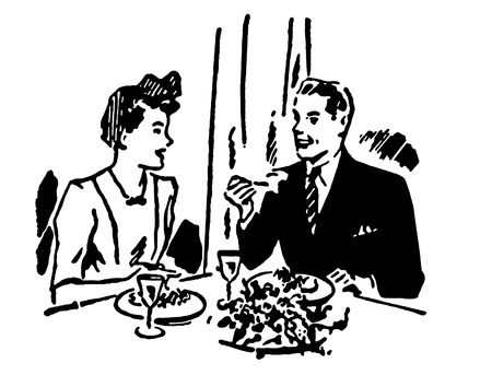 A black and white version of a vintage illustration of a couple enjoying a meal at a restaurant illustration