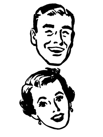 slicked back hair: A black and white version of a vintage portrait of a happy looking couple